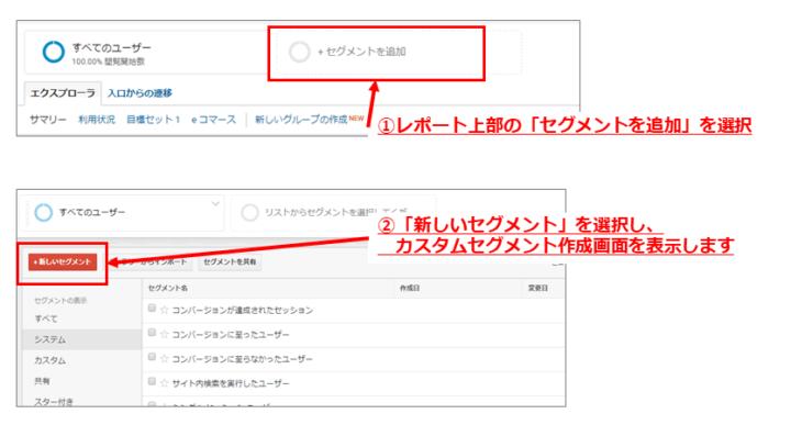 Google アナリティクス上でのセグメント設定手順1