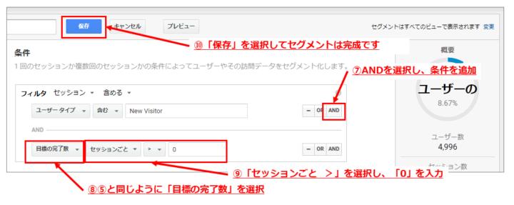 Google アナリティクス上でのセグメント設定手順3